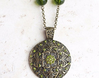 Peridot Green Pendant Necklace, Green Moroccan Statement Necklace