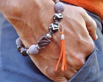 Men's Bracelet with Malva Lava, Hand Carved Skull Howlite, Carved Wood and Bone, Leather Tassel Wire Wrapped, Steampunk Man Bracelet, Boho