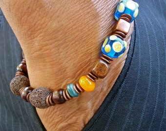Men's Bohemian Bracelet with Cobalt Murano Cubes, Brown Lava, Shell, Wood, Antique Filigree Copper - Courage and Strength Man Bracelet