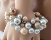 Chunky Pearl bracelet, bridesmaid jewelry, wedding jewelry, clustered pearl