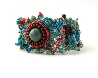 Beaded bracelet Seed bead bracelet Teal and marsala bracelet, Freeform peyote bracelet, beaded jewelry, Unique gift, Art beadwork