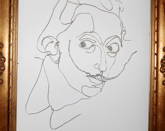 Wire wall sculpture - Salvador Dalí - Wire portrait - custom - personalized