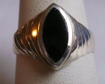 Sterling Silver Onyx Ring-Size 6 3/4