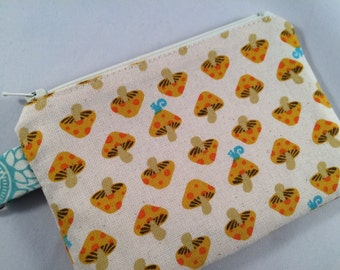 Squirrels and Mushrooms Small Zippered Pouch, Wallet, Stocking Stuffer, Gift, Vegan Wallet, Phone Case, iPod Case