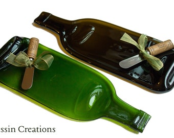 TWO Wine Bottle Cheese Tray,  Recycled Glass, Wine Bottle Spoonrest, Melted Wine Bottle, Hostess Gift,  Dessin Creations