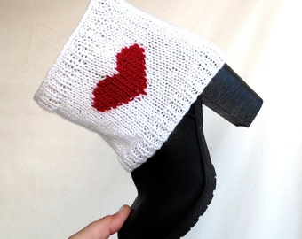 Red Heart Socks Boot Cuffs Leg Warmers Knit Boot Toppers Boot Covers Short Boot Socks Women Winter Accessories Christmas Gifts  For Her