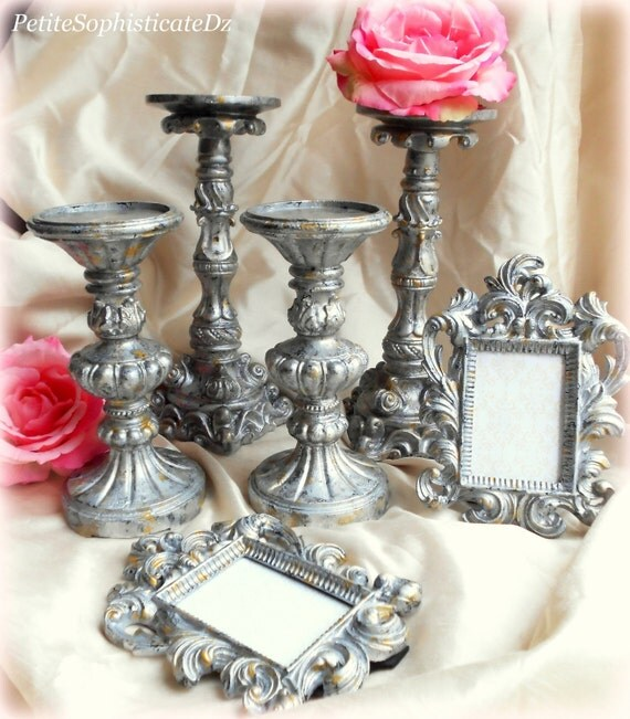 Faux Mercury, Silver & Gold, Frame and Candle Holder Set-6 Items in total.Artist created,Rococo home,Baroque Frame,Vintage Silver Decor,Glam
