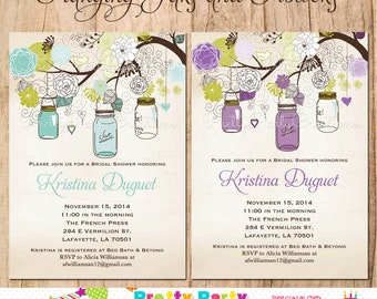 Hanging JARS and FLOWERS shower invitation/save the date - YOU Print