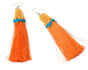 Earrings-Bohemian Jewelry,Tassel Earrings,Crochet Earrings,Orange Teal Blue,Statement Earrings,Long Earrings