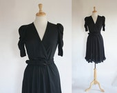 70s Dress / 70s Shirtwaist Dress / Little Black Dress / Full Skirted Dress / Entourage