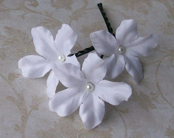White Stephanotis Flower Hair Pins - Set of Three