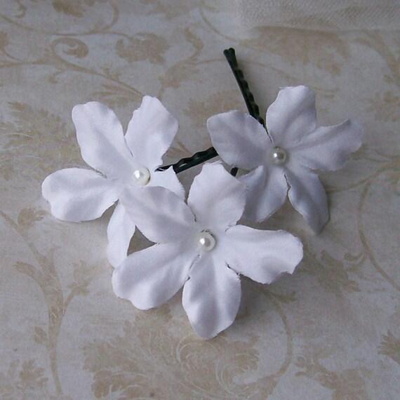 White Stephanotis Flower Hair Pins - Set of Three