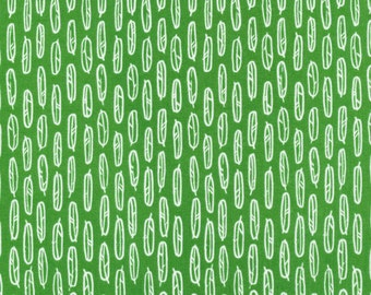 Yoyogi Park Feather Leaf in Green, Skinny laMinx, Heather Moore, 100% GOTS-Certified Organic Cotton, Cloud9 Fabrics, 131714