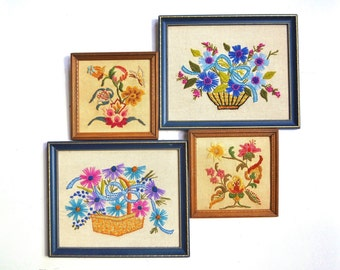 Vintage Pair Framed Floral Crewel Embroideries