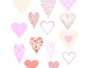 Valentine's Day Pink Hearts Cliparts, Heart Digital Sheet, Sweet Pink Love Digital Sheet, Love Images, Heart Images, Pink Hearts