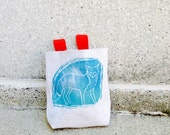 BLUE.FOX handcarved, blockprinted, rock climbing chalk bag..ships in 1-3 days