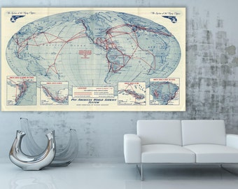 Vintage Print of Pan Am Airways Airlines World Map on Canvas Photo or Matte Paper Home Decor Art travel Deco Antique airplane pilot