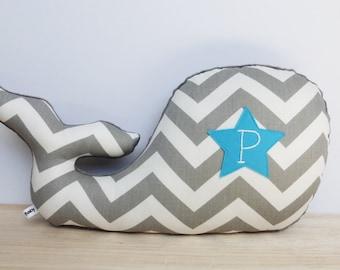 Personalized Nursery Pillow, Whale Pillow, Nautical Nursery, Nursery Decor, gray and turquoise, gray chevron whale