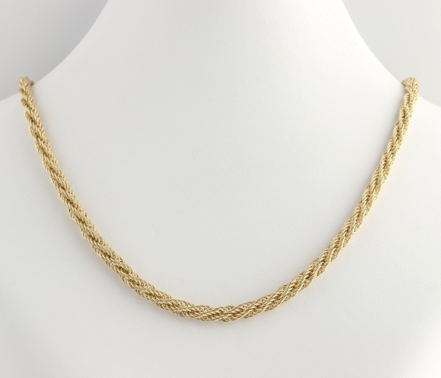 twisted rope chain necklace 18 14k yellow gold estate