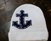 Anchor newborn beanie, sailor anchor hat, coming home outfit, boys anchor hat for a newborn