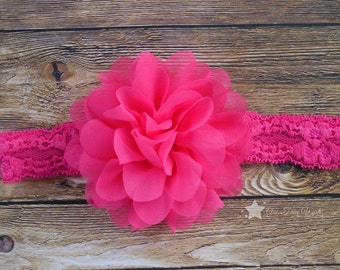 Baby headband, hot pink, lace headband, elastic headband, infant headband, newborn headband, baby girl, headband, headband infant, pink