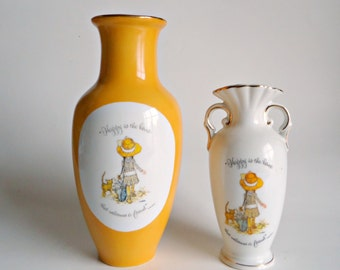 2 Vintage Holly Hobbie Vases Vase Happy Is The Home That Welcomes A Friend