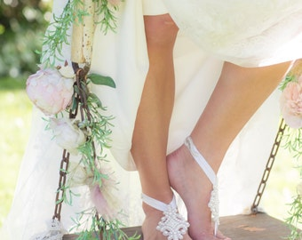 MAYRA - Bridal Barefoot Sandal - Footless Sandal - Bride Sandal - Beach Sandal
