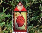 Nicho Ornament - El Corazon. Red, Black, Vintage Lace, Heart Milagro.