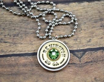 Shotgun Shell ~ Pendant Necklace ~ Remington 20g Shotgun Shell ~ Ballchain ~Peridot Gemstone