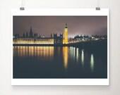 london photograph, london, westminster, river thames, parliament, landscape photograph, travel photography, wanderlust, night, gold