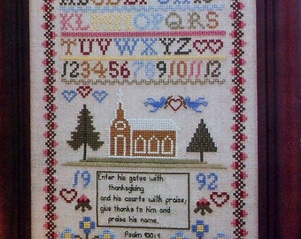 CLEARANCE Cathy Livingston PSALM 100 SAMPLER Antique Reproduction Heirloom Museum Quality - Counted Cross Stitch Pattern Chart - fam