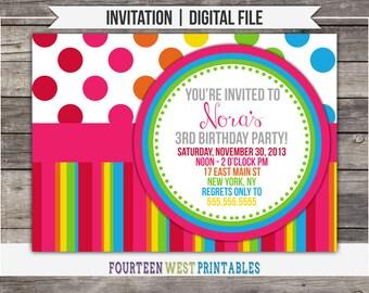 ON SALE! Rainbow Birthday Invitation -- Printable, Digital File