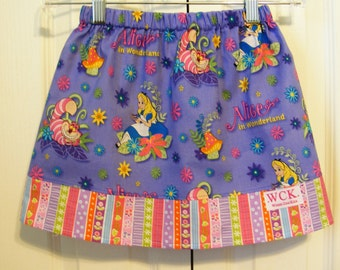 Alice in Wonderland  Skirt ( 18 mos, 24 mos, 2T, 3T, 4T, 5, 6, 7)