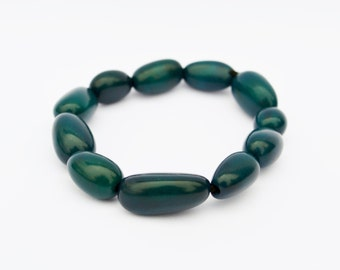 Dark Turquoise Beaded Tagua Bracelet / Eco-Friendly Sustainable Jewelry Pieces / Beaded Bracelet in a Rich Dark Teal