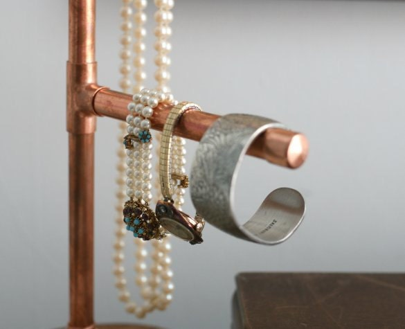 Industrial modern copper pipe jewelry display by vintagecrack for Copper pipe jewelry stand