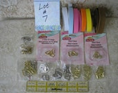 "Lot #7 DOLL BUCKLE SUPPLIES for belts includes faux leather belting clasps D-rings for 1/4"" and 3/8"" belts"