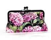 Pink Hydrangea Clutch - Pink, green and black  flowers - Gunmetal kisslock frame