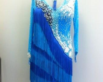 Blue Dance Latin Dress with fringe