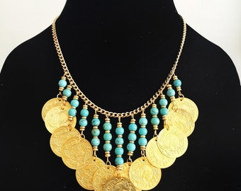 Gold Coin + Turquoise Statement Necklace