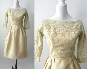 Vintage 50s Dress, Vintage Lace Dress, 1950 Beige Cocktail Dress, Vintage Wedding Dress, Bridal Dress, Retro 50s Dress, Bridesmaid Dress