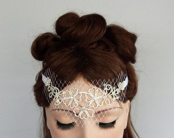 Bridal Queen Tiara, Rhinestone Flowers, French Bridcage Bandeau Veil, Weddings Headband, Handmade. Unique Design