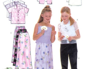 "Girls Cropped Pants Skirt Camisole Button Down Top Short Sleeve Sleeveless Butterick 6038  Breast 26-28.5"" Sizes 7-8-10"