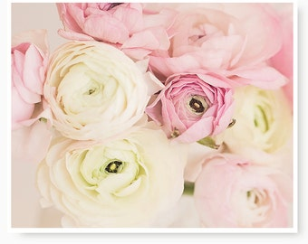 Pastel Flower Print, flower photography, home decor, shabby chic, pink ranunculus, cottage decor, nursery art  floral, flower photography