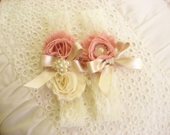 Garter Heirloom Rose Wedding Garter Set with Toss Garter Heirloom Rose and Tea Stained Ivory with Rhinestones and Pearls