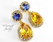 Blue Yellow Bridal Earrings Teardrop Bride Earrings Gold Wedding Jewelry Swarovski Crystal Sapphire Earrings Sunflower Bridesmaid Jewelry