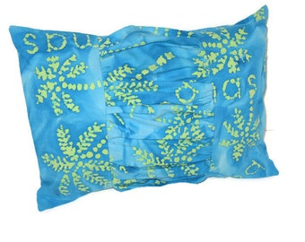 Blue Palm Tree Bahamas Batik Ruched Pillow Cottage Beach Tropical