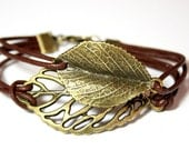 Forest Leaves Leather Bracelet brown bronzecolored - nature hippie tree friendship forever best friend lucky charm sister friend mother gift