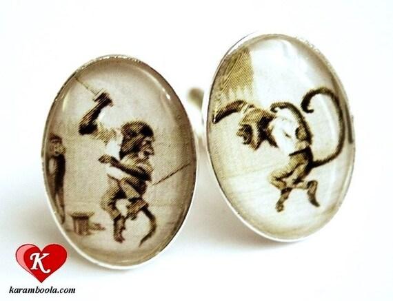 Fighting Monkeys Cufflinks silvercolored - vintage retro animal monkey ape funny special gift man men husband boyfriend friend jewelry old