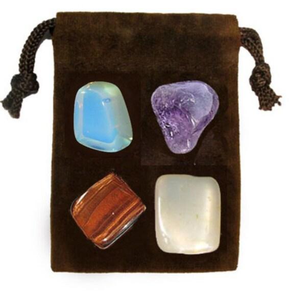 PSYCHIC POWER - Meditation Stone Set, Crystal Healing Gemstone Kit, Tumbled Gemstone Healing Set, 4 Stones, Pouch, Card