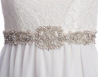 LAROSSE crystal sash, rhinestone sash, wedding  beaded belt,  Bridal sash, wedding dress sash, wedding belt, rhinestone beaded sash